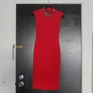 Red Ted Baker Wiggle Dress with Crystals